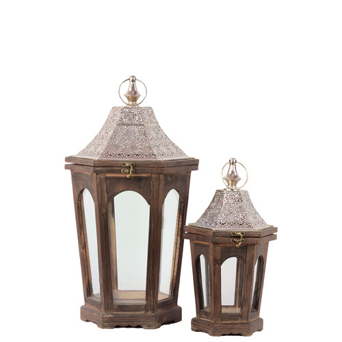 Urban Trends Home and Garden Accents 2 Piece Wood Lantern Set