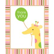Baby Animals 1st Birthday Girl Thank You Notes (8-pack) - Party Supplies (Baby Girl 1st Birthday Party Supplies)