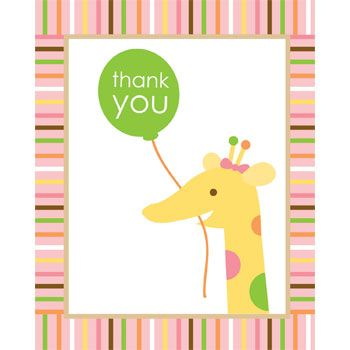 Baby Animals 1st Birthday Girl Thank You Notes (8-pack) - Party Supplies