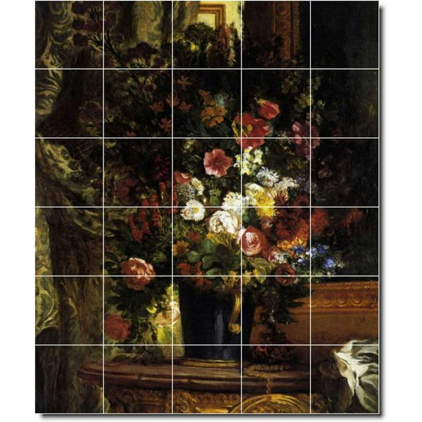 Ceramic Tile Mural Eugene Delacroix Flowers Custom Tile Mural 11 30 W X 36 H Using 30 6 X 6 Ceramic Tiles Walmart Com Walmart Com