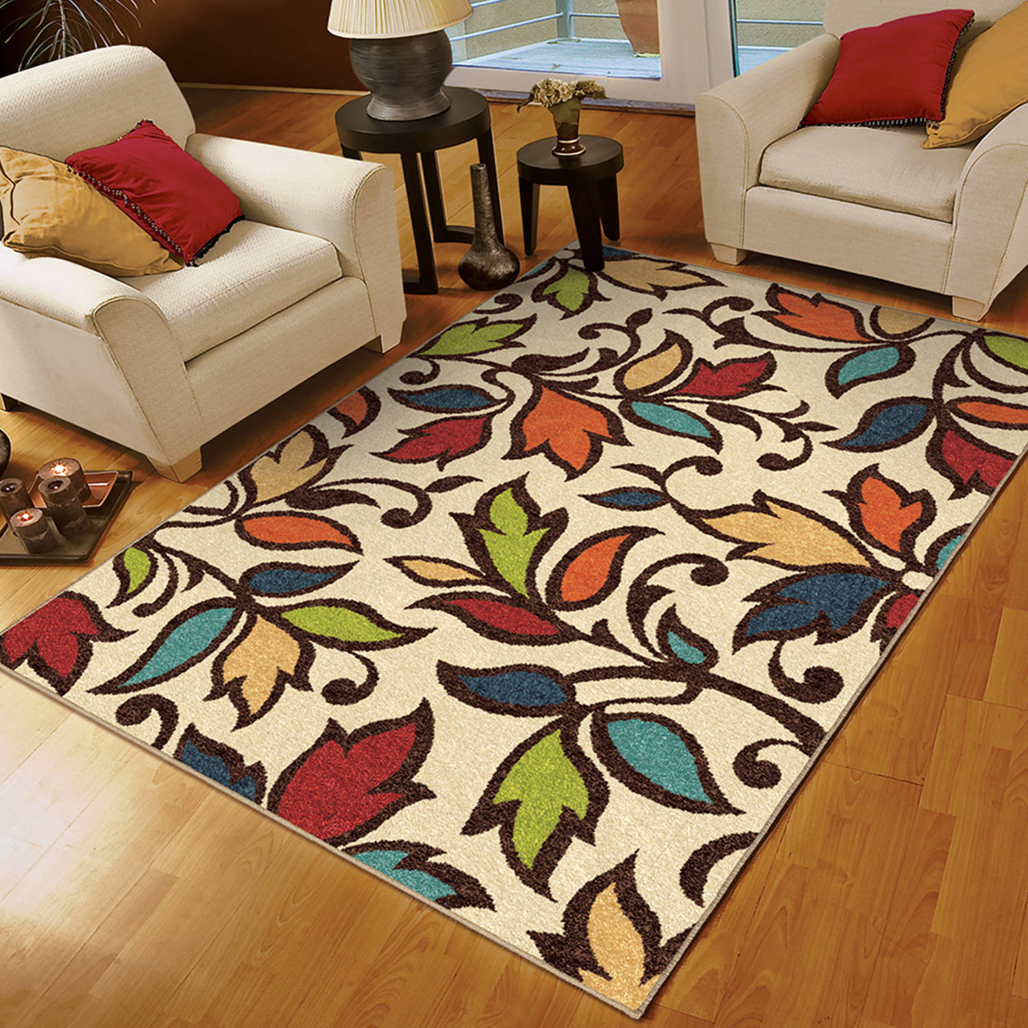 Orian Rugs Bright Colors Leaves Dicarna Ivory Area Rug Walmart Com