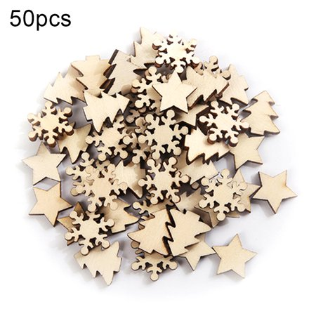 Visland 50Pcs Christmas DIY Wooden Star Tree Snowflake Crafts Scrapbooking Wedding Decor - image 1 de 6