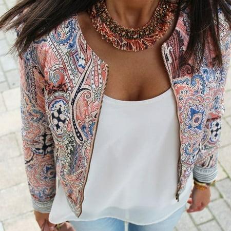 Fashion Women's Floral Slim Casual Summer Blazer Suit Jacket Coat Outerwear Summer Riding Jacket