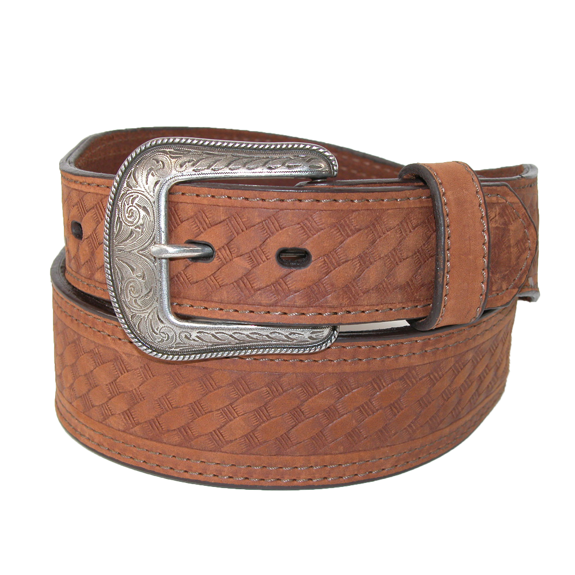3 D Belt Company  Men's Leather Basketweave Western Belt with Tapered Ends