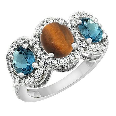 - 14K White Gold Natural Tiger Eye & London Blue Topaz 3-Stone Ring Oval Diamond Accent, size 5