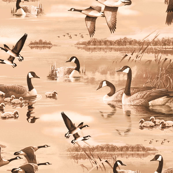 Quilting Treasures Flying Geese Geese Lake Scenic
