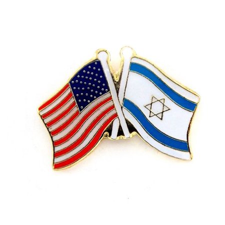 Wholesale Lapel Pins (Wholesale Lot Of 12 USA Flag And Isreal Flag Crossing Lapel Hat Pin)