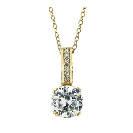 18Kt Gold and Cubic Zirconia Solitaire Pendant Necklace ()