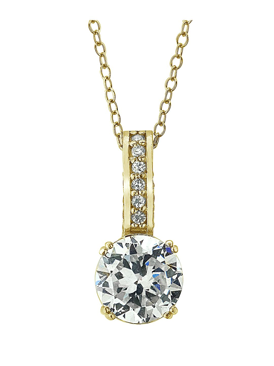 18Kt Gold and Cubic Zirconia Solitaire Pendant Necklace