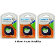 """10697 Self-Adhesive White Paper Labeling Tape for LetraTag (LT) Label Makers; 3 Blister Packs (6 Refills); Each with Two 1/2"""" Wide x 13ft Long (12mm x 4m) Refill.., By DYMO"""