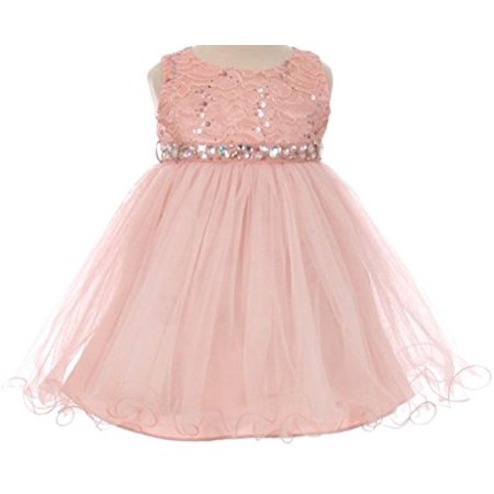 Tulle Easter Dress (Baby Girls Sequin Stone Lace Shiny Tulle Easter Infant Flowers Girls Dresses Blush L)