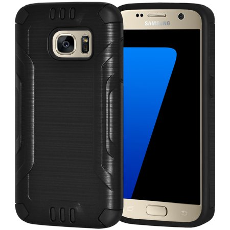 Samsung GALAXY S7 Case and Screen Protector Kit, Premium Brushed Metal Dual Layer Slim Case with Tempered Glass for Samsung Galaxy S7 G930 - Black, Raised Bezel, Super