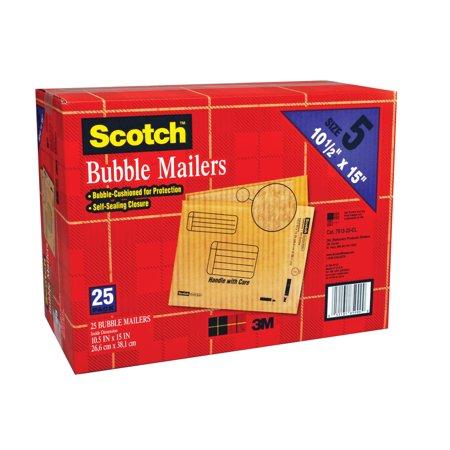 """Scotch Bubble Mailer 10.5"""" x 15.25"""", Size #5, 25 pack"""