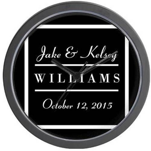 Cafepress Personalized Black And White Family Kee Wall Clock
