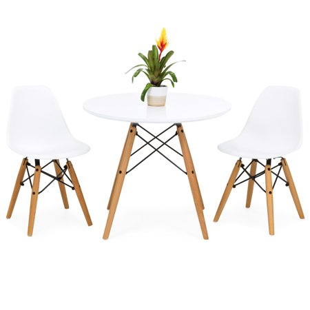 Best Choice Products Kids Mid-Century Modern Eames Style Dining Room Round Table Set with 2 Armless Wood Leg Chairs, White ()