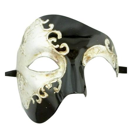 Men's Phantom Black Silver Foil Large Mardi Gras Masquerade Elegance Mask