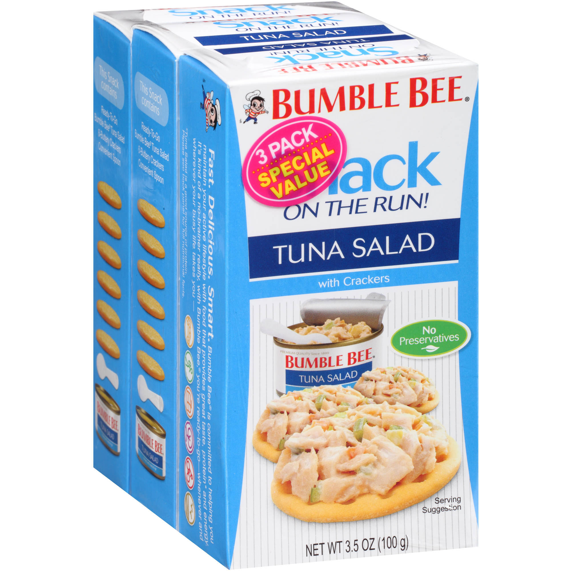 Bumble Bee Snack on the Run! Tuna Salad with Crackers, 3.5 oz, (Pack of 3)