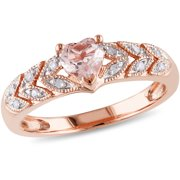 1/2 Carat T.G.W. Morganite and Diamond-Accent 10kt Rose Gold Heart Ring
