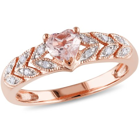 Tangelo 1/2 Carat T.G.W. Morganite and Diamond-Accent 10kt Rose Gold Heart Ring
