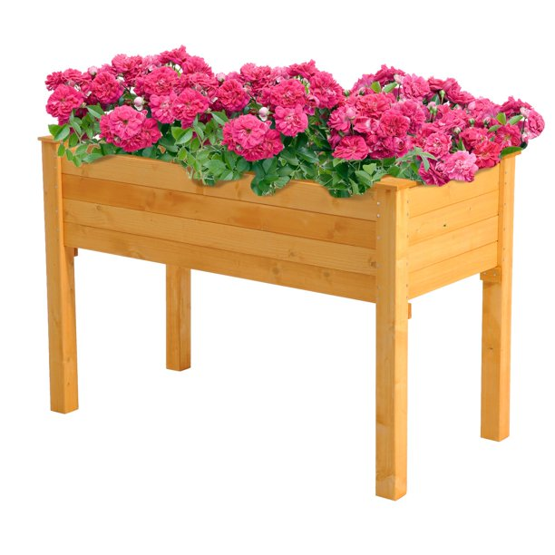 2' x 4' Wood Elevated Garden Bed Outdoor Raised Planter ...
