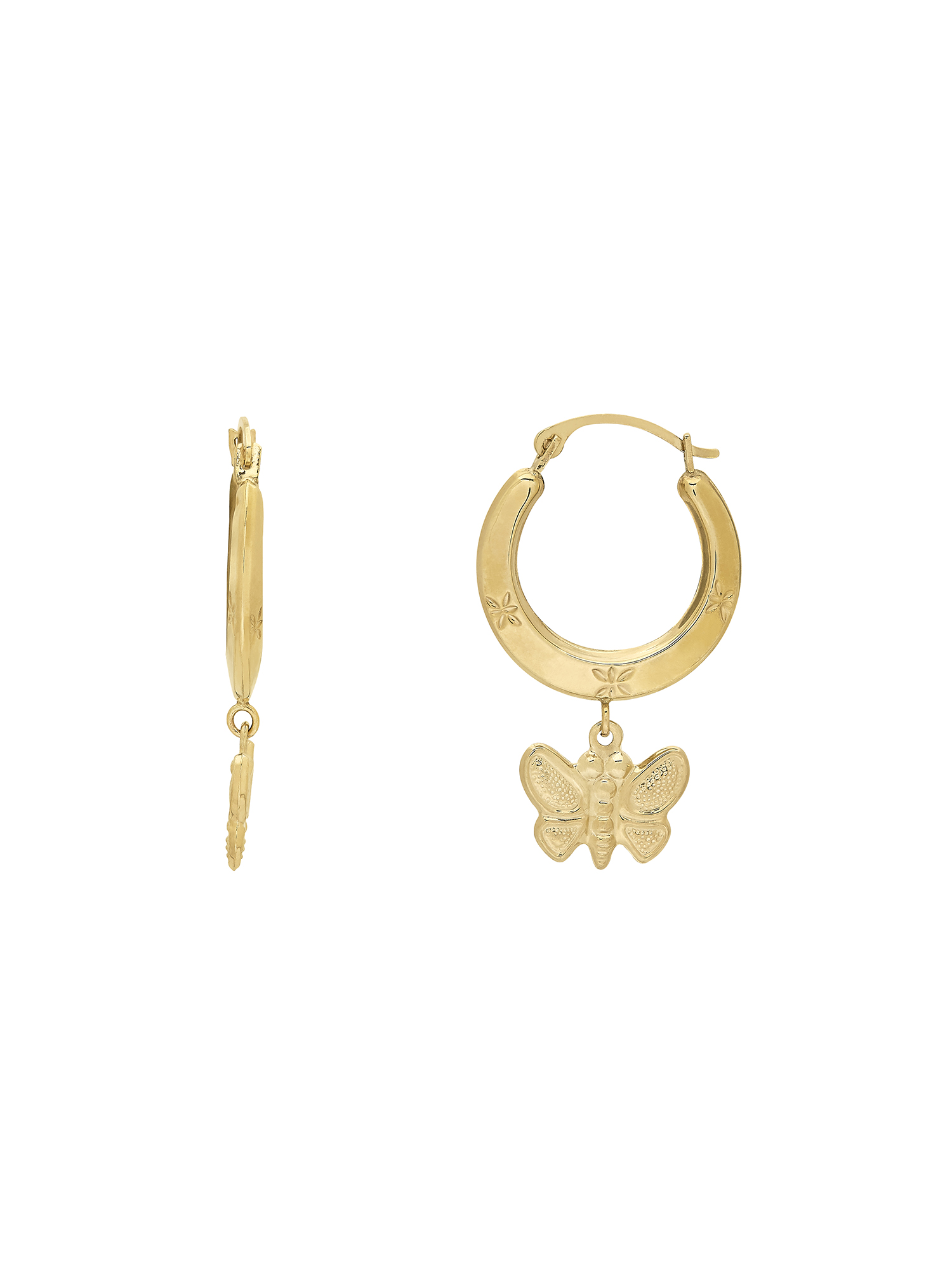 Simply Gold™ 10K Polished Diamond-Cut Hoop Earring w/Butterfly Dangle