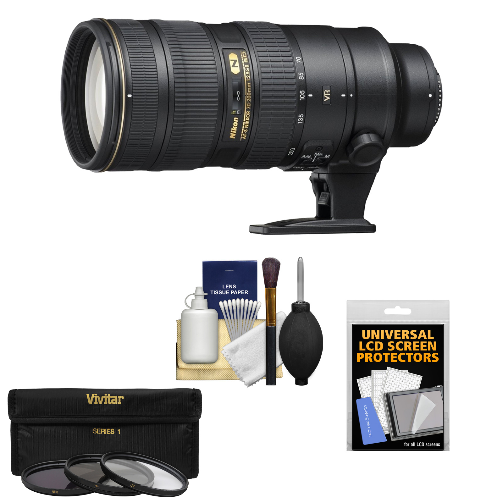 Nikon 70-200mm f/2.8G VR II AF-S ED-IF Zoom-Nikkor Lens - Factory Refurbished with 3 UV/CPL/ND8 Filters + Accessory Kit