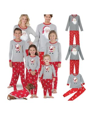 XMAS Family Matching Christmas Pajamas Set Womens Mens Kids Sleepwear Nightwear