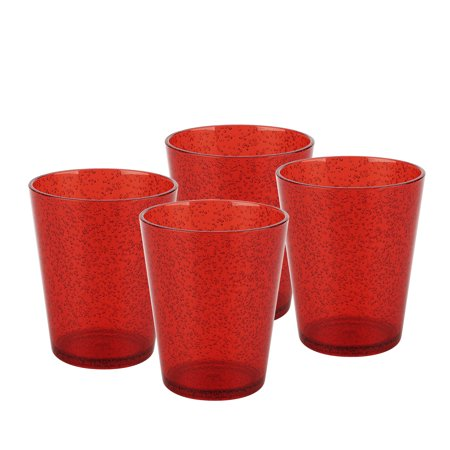 Zak Designs Spritz Old-Fashion Glasses 16 oz. Red