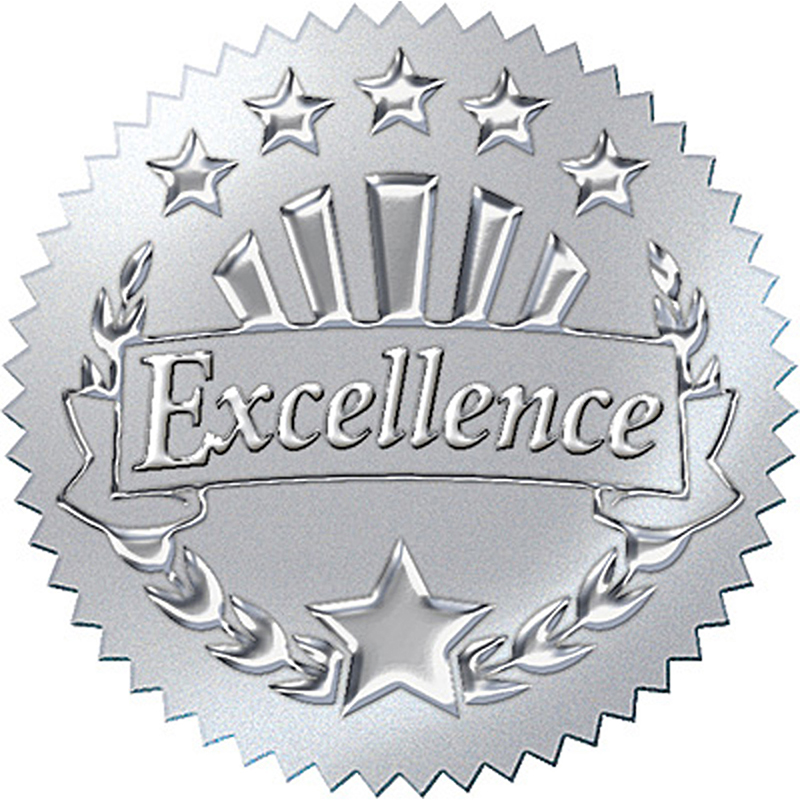 (6 PK) AWARD SEAL EXCELLENCE SILVER