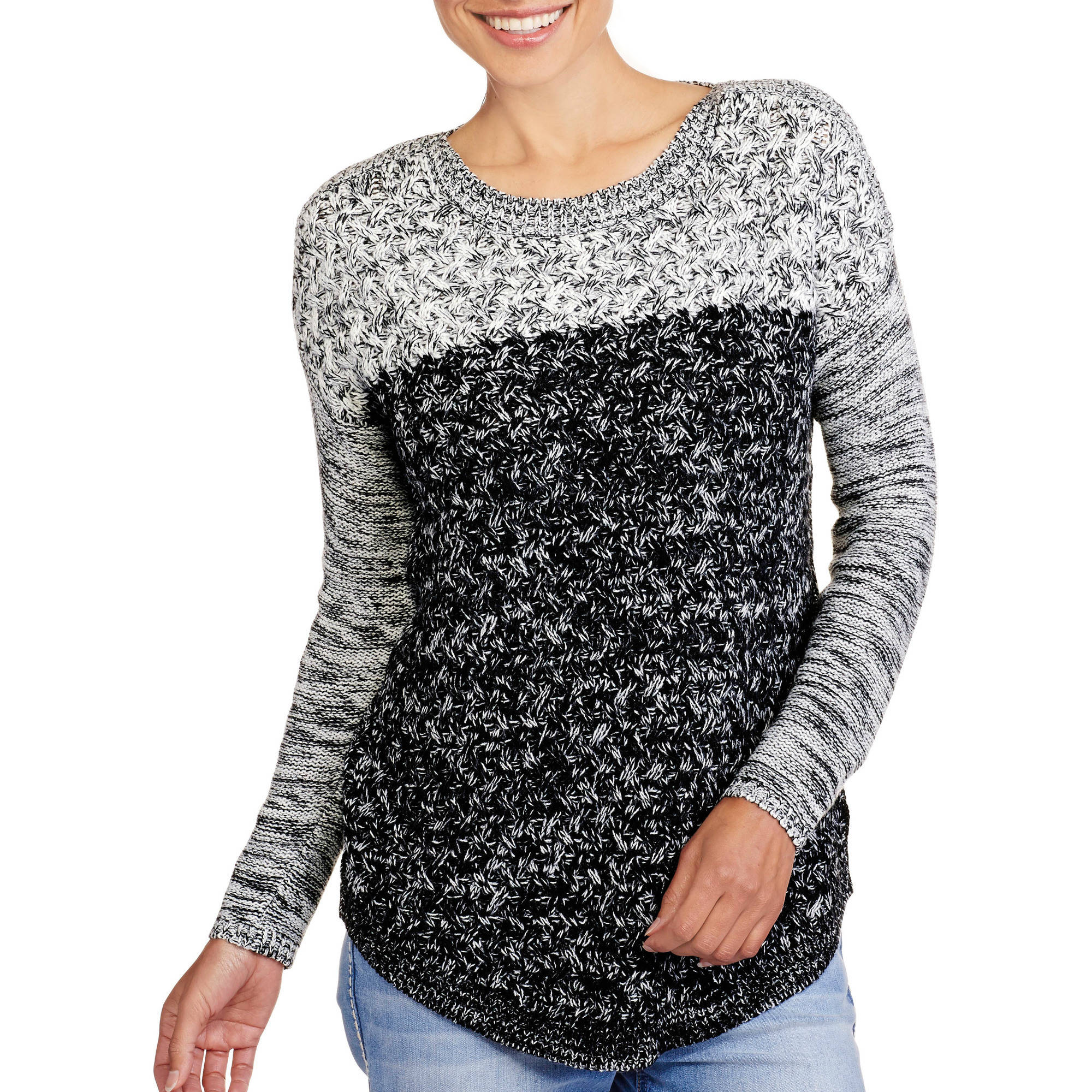 Women's Drop Shoulder Color Block Sweater