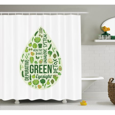 Avocado Shower Curtain, Teardrop Shape Image for Healthy Nutrition and Benefits of Green Plants, Fabric Bathroom Set with Hooks, 69W X 84L Inches Extra Long, Emerald Pale Green, by Ambesonne