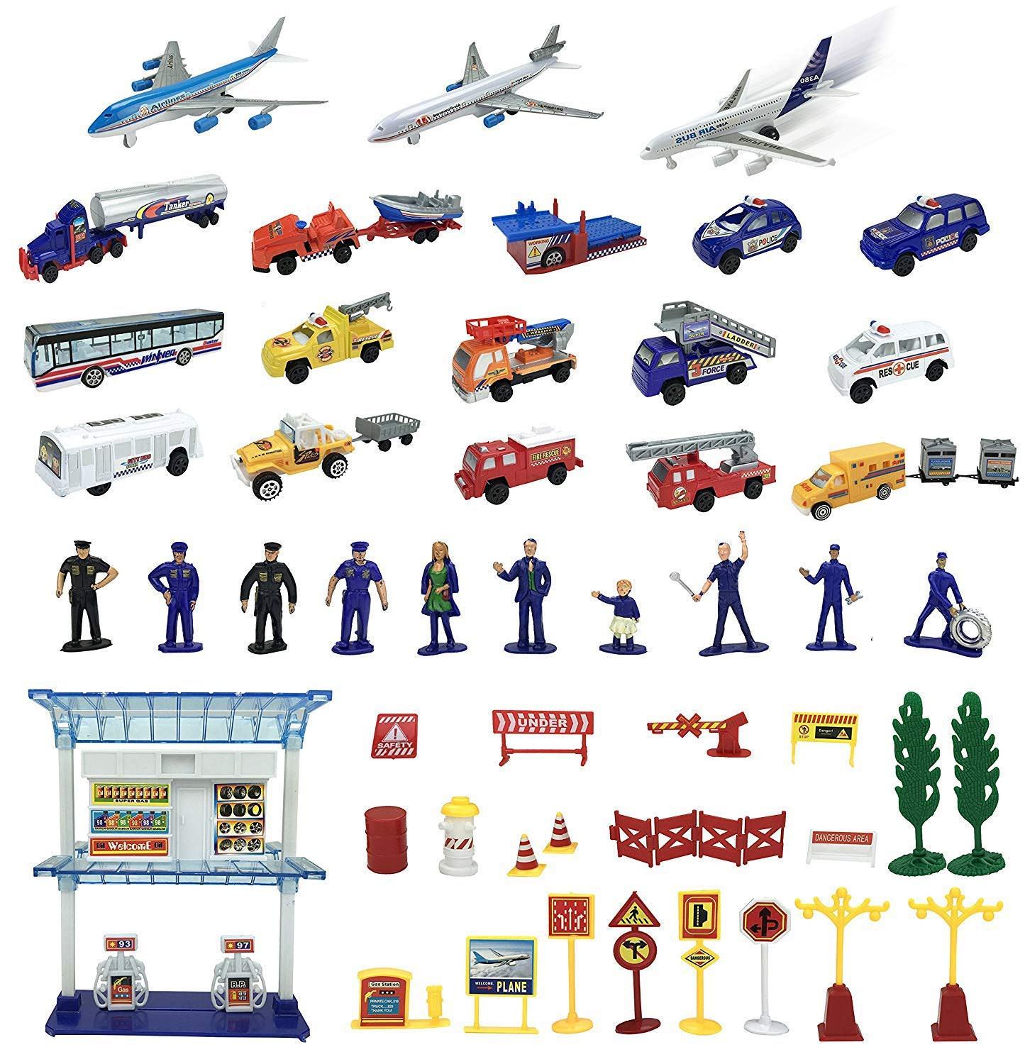 57 Piece Airport Play Set, Airplanes, Vehicles, Police Figures, Workers, And Many More Accessories by