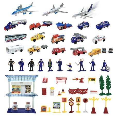 57 Piece Airport Play Set, Airplanes, Vehicles, Police Figures, Workers, And Many More Accessories