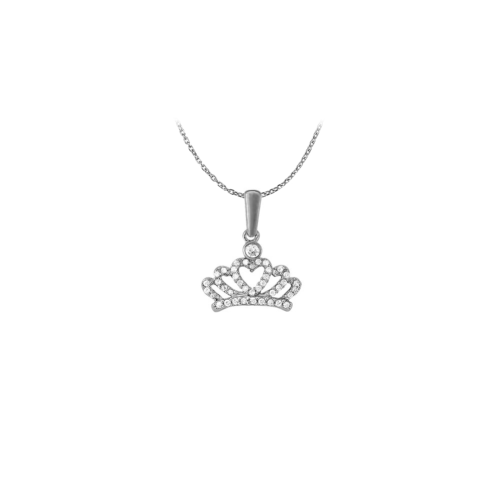 Nicely Designed Jewelry Gift Cubic Zirconia Heart Pendant in 14K White Gold with a Free Chain - image 2 de 2