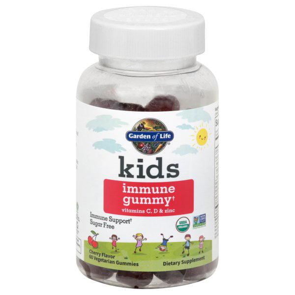 Garden Of Life Kids Immune Support Sugar Free Cherry 60 Vegetarian Gummies Walmart Com Walmart Com