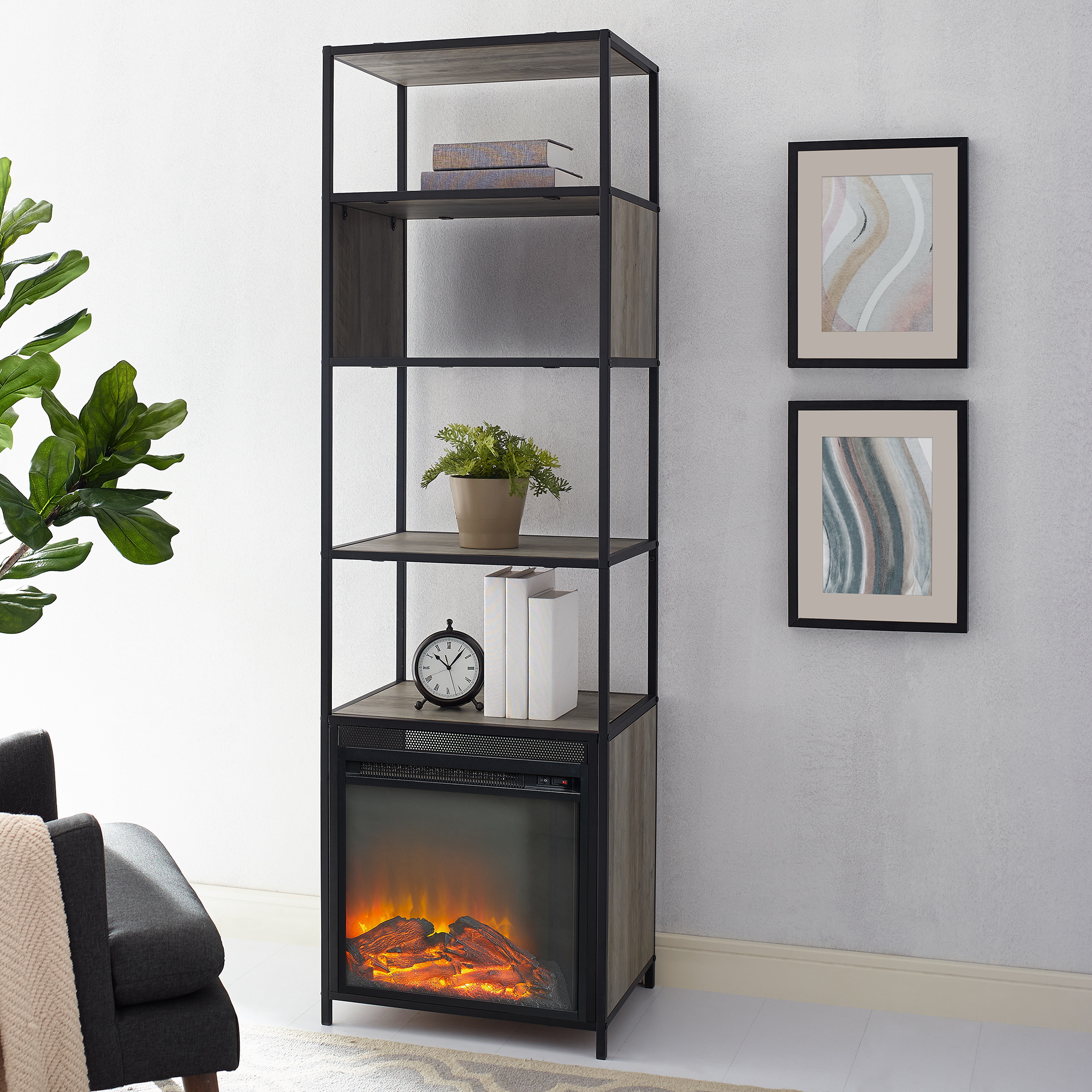 "Manor Park 70"" Urban Industrial Metal and Wood Tower Fireplace - Dark Walnut"