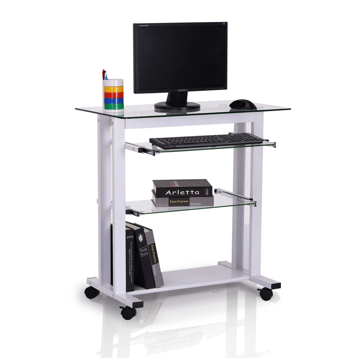 GHP White Computer Table Stand with Non-Transparent Tempered Glass Top & Wheels