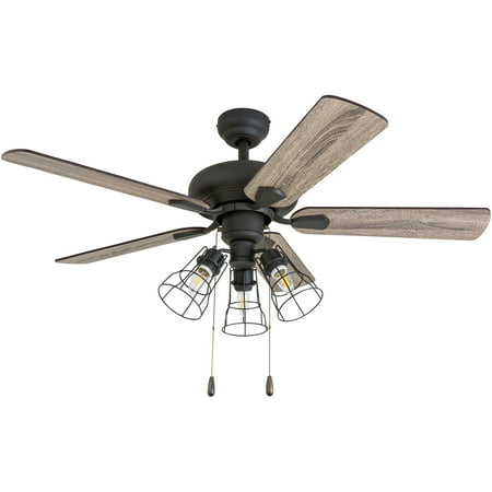 Prominence Home 50588-35 Madison County Industrial 42-Inch Aged Bronze Indoor Ceiling Fan, Cage LED Cage Barnwood/Tumbleweed (Aged Bronze Ceiling Fan)