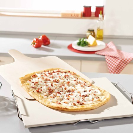 Leifheit Large Square Ceramic Pizza Stone with Carrying Tray and Wooden Spatula,