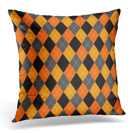 ECCOT Orange Checks Black Abstract Argyle Pattern Diamond Shapes Colorful Checkerboard White Classic Pillowcase Pillow Cover Cushion Case 18x18 inch ()