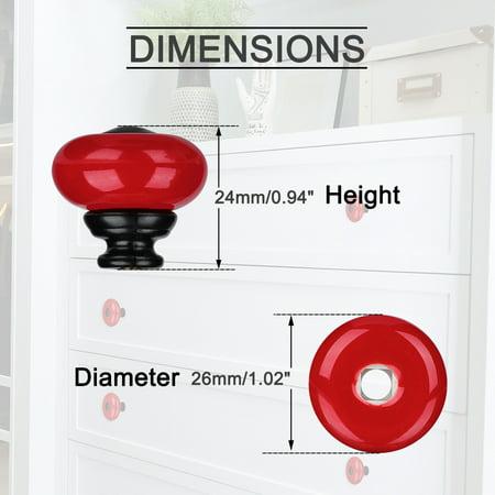 Ceramic Knob Pull Handle Furniture Dresser Wardrobe Cabinet Accessory 4pcs Red - image 6 of 7