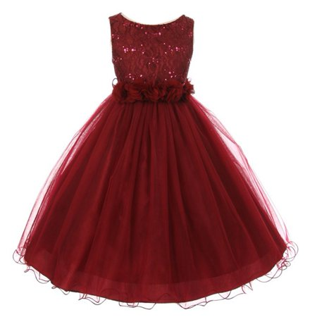 Girls Burgundy Lace Sequin Tulle Flower Sparkle Special Occasion