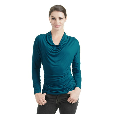 WT1381 Womens Cowl Neck Long Sleeve Drape Top With Side Shrring M Teal