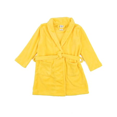 Leveret Kids Robe Boys Girls Bathrobe Shawl Collar Fleece Sleep Robe Yellow Size 6 Years - Kids Bathrobe