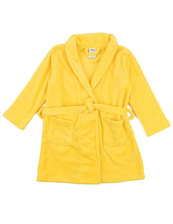 Leveret Kids Robe Boys Girls Bathrobe Shawl Collar Fleece Sleep Robe Yellow Size 6 Years