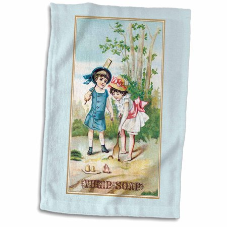 - 3dRose Vintage Tulip Soap Trading Card with Two Girls in Victorian Era Dresses - Towel, 15 by 22-inch