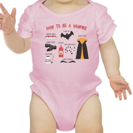 Vampire Steps Halloween Baby Bodysuit Pink Cute Baby Boy Bodysuit](Halloween Makeup Step By Step)