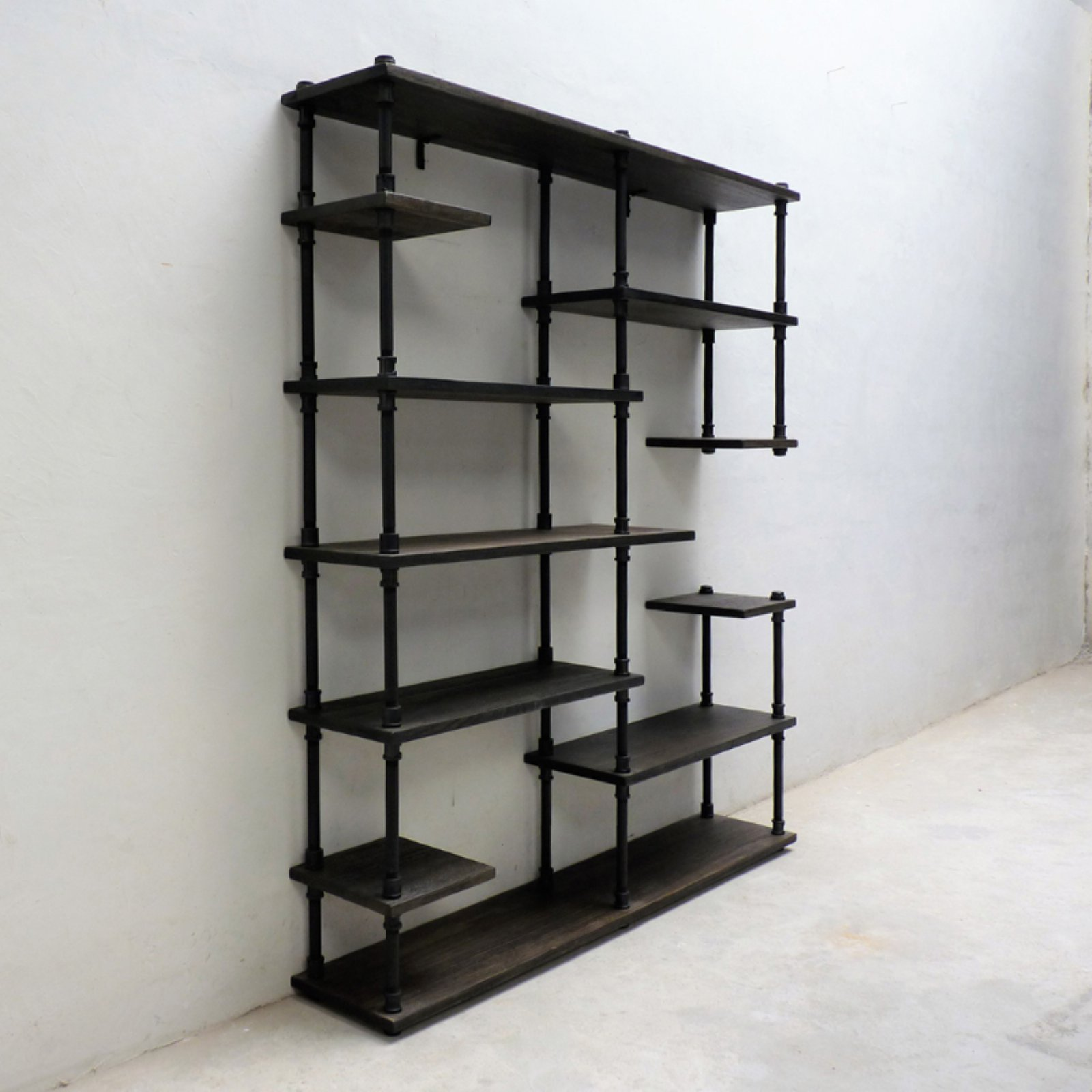 Furniture Pipeline Nashville Industrial Mid-Century Etagere Bookcase by Furniture Pipeline