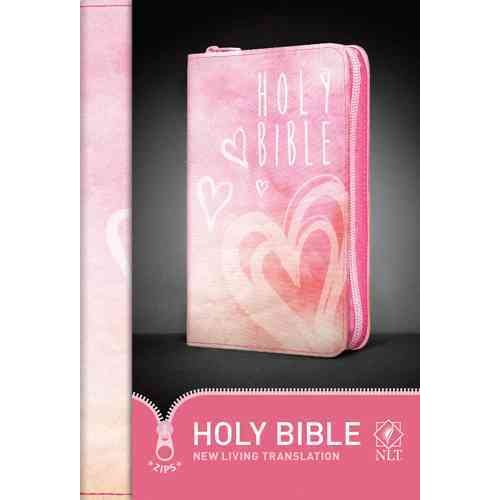 Holy Bible: New Living Translation, Shimmery Canvas with Pink Zipper