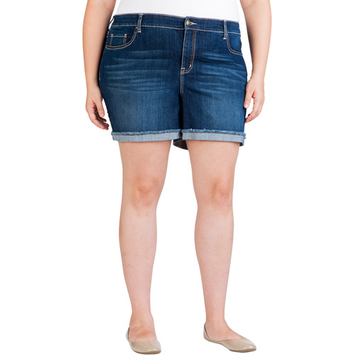 faded glory women's plus-size frayed denim shorts - walmart
